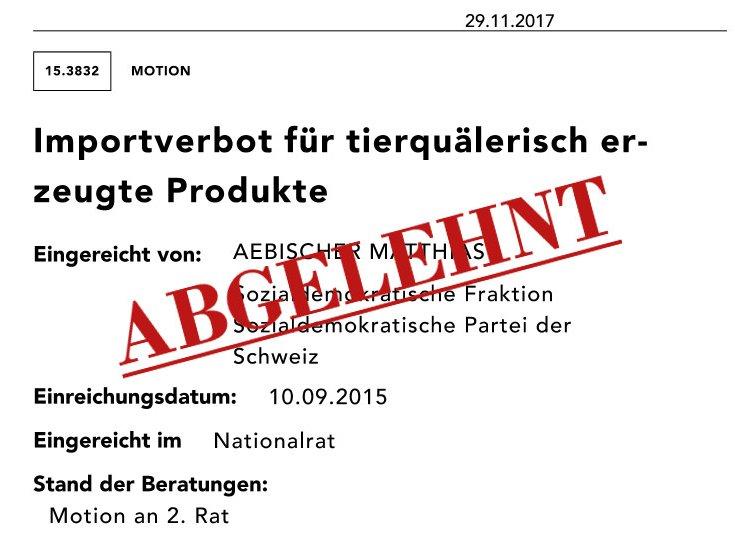 Motion Matthias Aebischer abgelehnt 2017