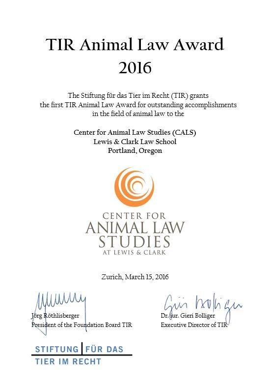 Award Urkunde 2016