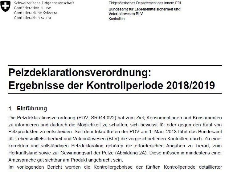 Pelzdeklarationsverordnung: Ergebnisse der Kontrollperiode 2018/2019 p2